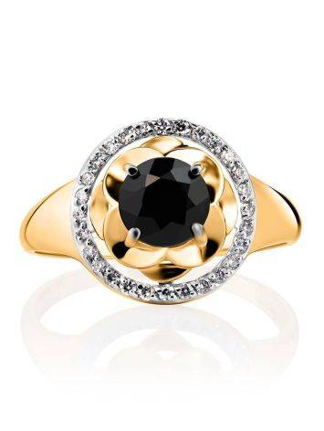 Великолепное золотое кольцо с сапфиром и бриллиантами «Ундина», Размер кольца: 19, фото , изображение 3