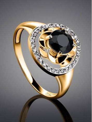 Великолепное золотое кольцо с сапфиром и бриллиантами «Ундина», Размер кольца: 19, фото , изображение 2