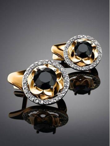 Нарядные золотые серьги с сапфирами и бриллиантами «Ундина», фото , изображение 2