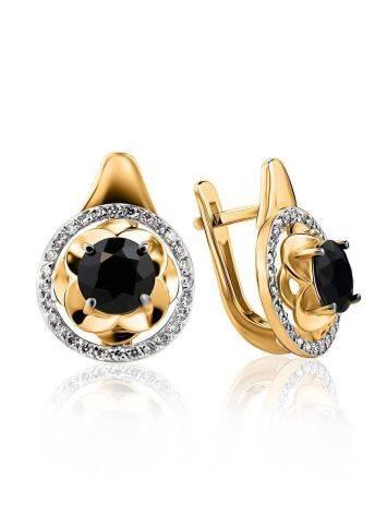 Нарядные золотые серьги с сапфирами и бриллиантами «Ундина», фото