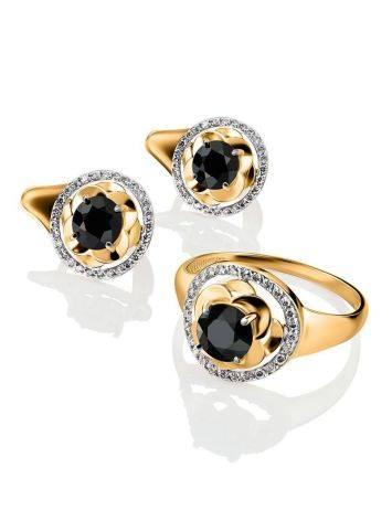 Великолепное золотое кольцо с сапфиром и бриллиантами «Ундина», Размер кольца: 19, фото , изображение 4