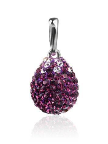 Серебряная подвеска-капелька с фиолетовыми кристаллами Eclat, фото