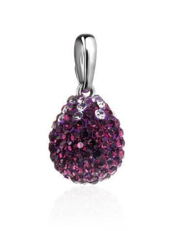 Серебряная подвеска-капелька с фиолетовыми кристаллами Eclat, фото , изображение 3