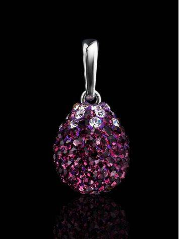 Серебряная подвеска-капелька с фиолетовыми кристаллами Eclat, фото , изображение 2