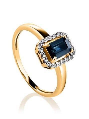 Нарядное золотое кольцо с сапфиром и бриллиантами «Ундина», Размер кольца: 18, фото