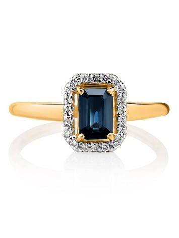 Нарядное золотое кольцо с сапфиром и бриллиантами «Ундина», Размер кольца: 18, фото , изображение 3