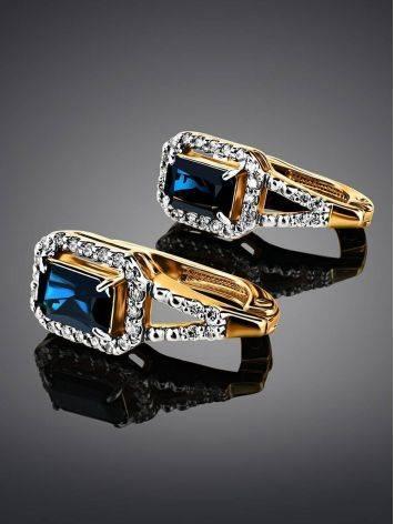 Эффектные золотые серьги с сапфирами и бриллиантами «Ундина», фото , изображение 2
