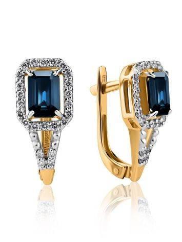 Эффектные золотые серьги с сапфирами и бриллиантами «Ундина», фото