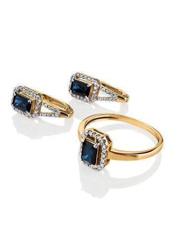 Нарядное золотое кольцо с сапфиром и бриллиантами «Ундина», Размер кольца: 18, фото , изображение 4