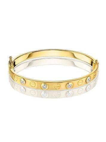 Лаконичный золотой браслет-обруч с кристаллами, фото , изображение 3
