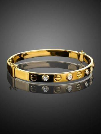 Лаконичный золотой браслет-обруч с кристаллами, фото , изображение 2