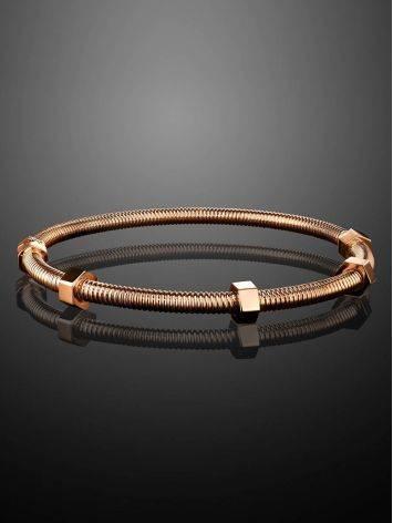 Минималистичный золотой браслет-обруч, фото , изображение 2