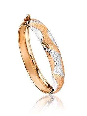 Изящный браслет-обруч из белого и желтого золота, фото