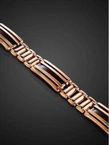 Стильный мужской золотой браслет с темной эмалью, фото , изображение 2