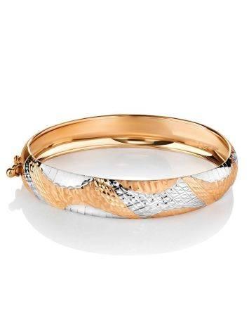 Изящный браслет-обруч из белого и желтого золота, фото , изображение 3