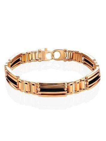Стильный мужской золотой браслет с темной эмалью, фото