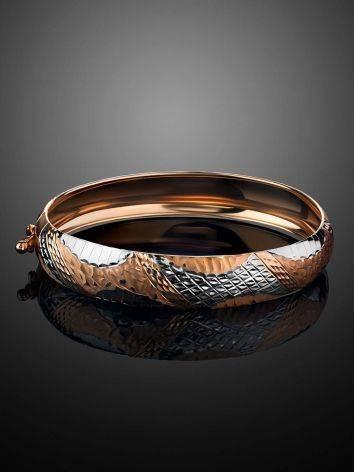 Изящный браслет-обруч из белого и желтого золота, фото , изображение 2