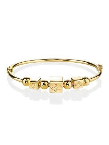 Стильный золотой браслет-обруч с кубиками-шармами, фото , изображение 3