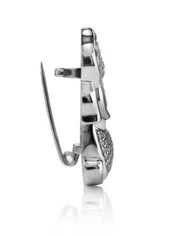 Серебряная брошь в форме кролика с белыми кристаллами и эмалью, фото , изображение 3
