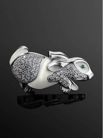 Серебряная брошь в форме кролика с белыми кристаллами и эмалью, фото , изображение 2