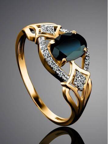Потрясающее ажурное золотое кольцо с сапфиром и бриллиантами «Ундина», Размер кольца: 18, фото , изображение 2