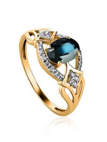 Потрясающее ажурное золотое кольцо с сапфиром и бриллиантами «Ундина», Размер кольца: 18, фото