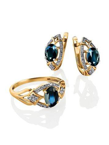 Потрясающее ажурное золотое кольцо с сапфиром и бриллиантами «Ундина», Размер кольца: 18, фото , изображение 3