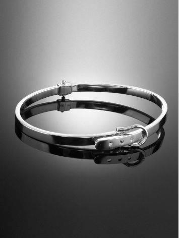 Ультра-стильный браслет-обруч из белого золота, фото , изображение 2