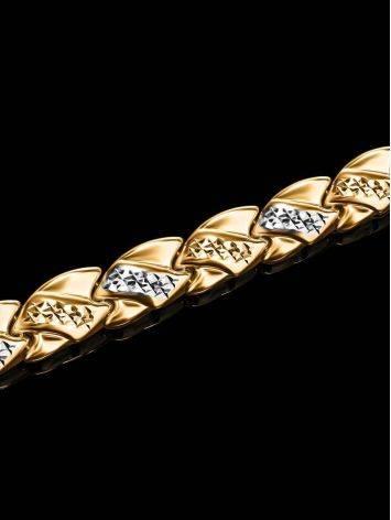 Женственный золотой браслет с кристаллами, фото , изображение 2