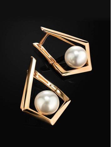 Необычные золотые серьги с жемчугом «Ариэль», фото , изображение 2