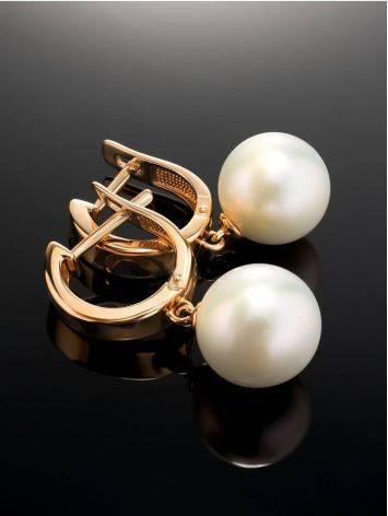 Ультра-женственные жемчужные серьги в золоте «Ариэль», фото , изображение 2