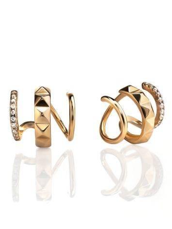 Дизайнерские золотые серьги с кристаллами, фото
