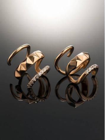 Дизайнерские золотые серьги с кристаллами, фото , изображение 2
