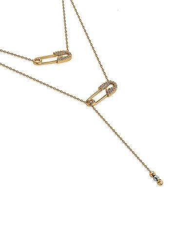 Стильное золотое колье с двумя подвесками, фото , изображение 3
