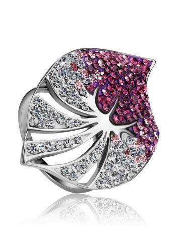 Эффектное коктейльное кольцо с кристаллами Jungle, Размер кольца: 16, фото