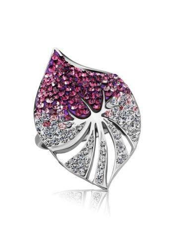 Эффектное коктейльное кольцо с кристаллами Jungle, Размер кольца: 16, фото , изображение 3