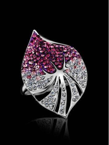 Эффектное коктейльное кольцо с кристаллами Jungle, Размер кольца: 16, фото , изображение 2