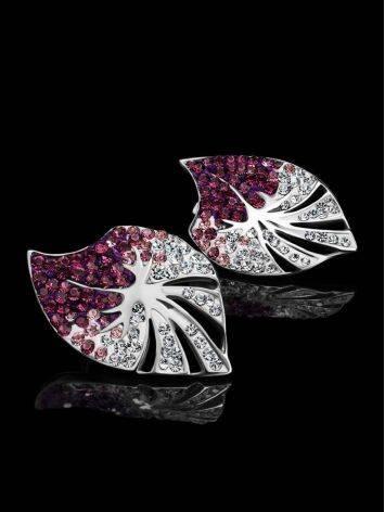 Крупные серебряные серьги с кристаллами Jungle, фото , изображение 2