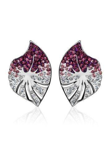 Крупные серебряные серьги с кристаллами Jungle, фото , изображение 3