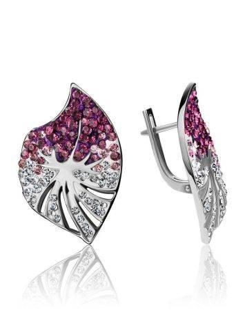 Крупные серебряные серьги с кристаллами Jungle, фото