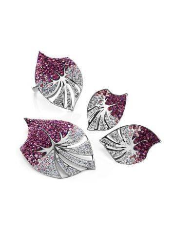 Крупные серебряные серьги с кристаллами Jungle, фото , изображение 4