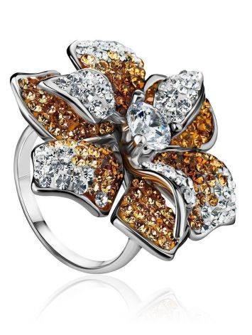 Восхитительное коктейльное кольцо с кристаллами Jungle, Размер кольца: 18, фото
