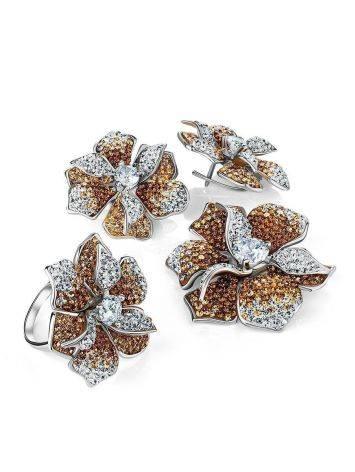 Восхитительное коктейльное кольцо с кристаллами Jungle, Размер кольца: 18, фото , изображение 5