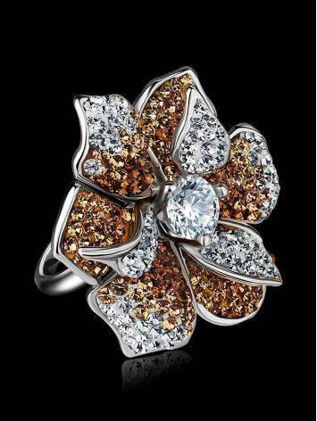 Восхитительное коктейльное кольцо с кристаллами Jungle, Размер кольца: 18, фото , изображение 2