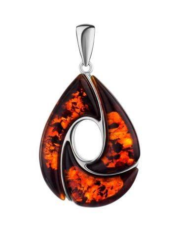Кулон из серебра и натурального янтаря вишнёвого цвета «Санрайз», фото