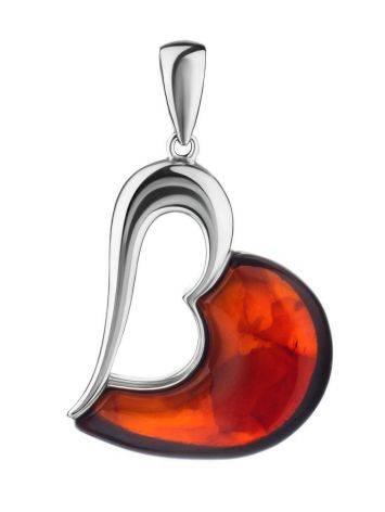 Кулон-сердце «Санрайз» из серебра и янтаря вишнёвого цвета, фото