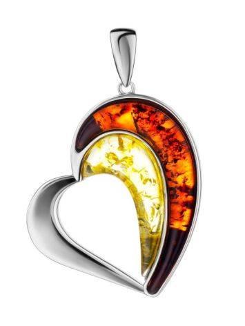 Стилизованный кулон-сердце с янтарём двух оттенков «Санрайз», фото