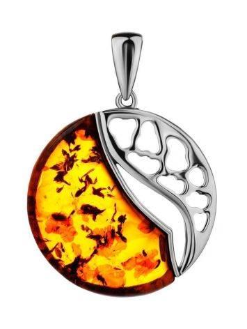 Стильный эффектный кулон из серебра и янтаря коньячного цвета «Санрайз», фото