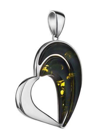 Стильный кулон-сердце из серебра и янтаря зелёного цвета «Санрайз», фото