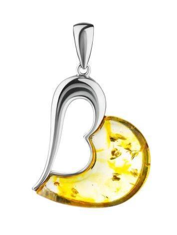 Яркий кулон «Санрайз» из серебра и янтаря лимонного цвета, фото